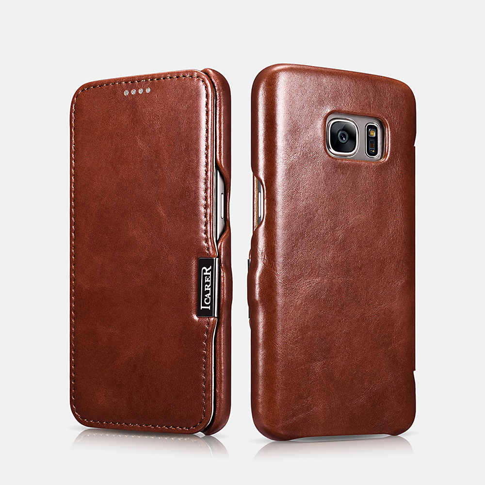 icarer leder h lle f r samsung galaxy s7 flip case etui 100 original ebay. Black Bedroom Furniture Sets. Home Design Ideas