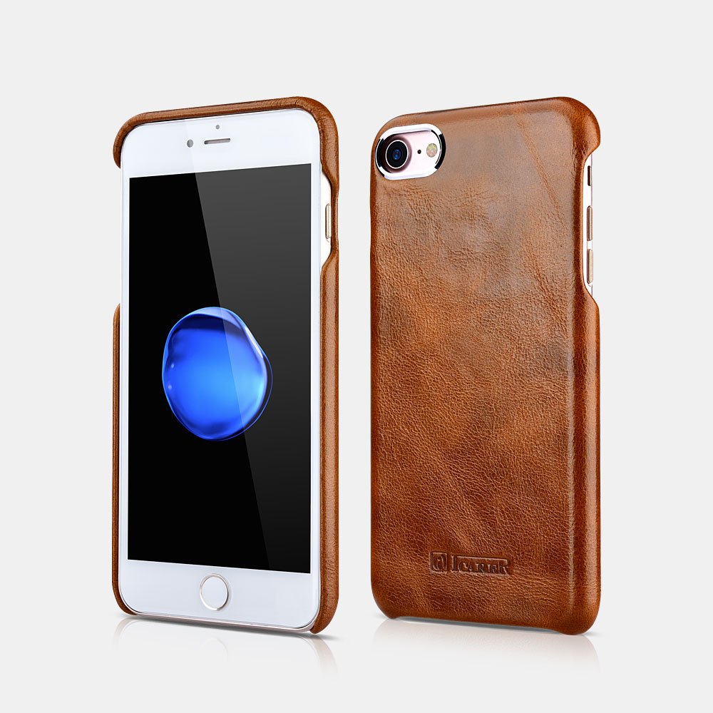 Metal Warrior Oil Wax Real Leather Back Case For iPhone 7/8