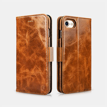 Oil Wax Leather Detachable 2 in 1 Wallet Folio Case For iPhone 7/8
