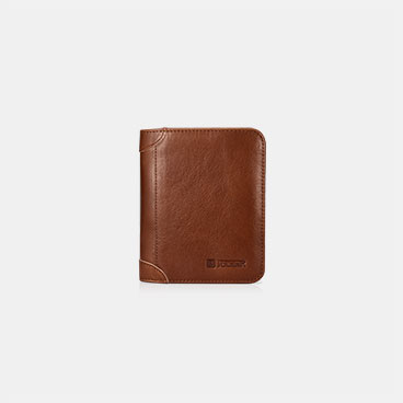 Vegetable Tanned Leather Multifunction Wallet with One ID Window and Eight Card Slots