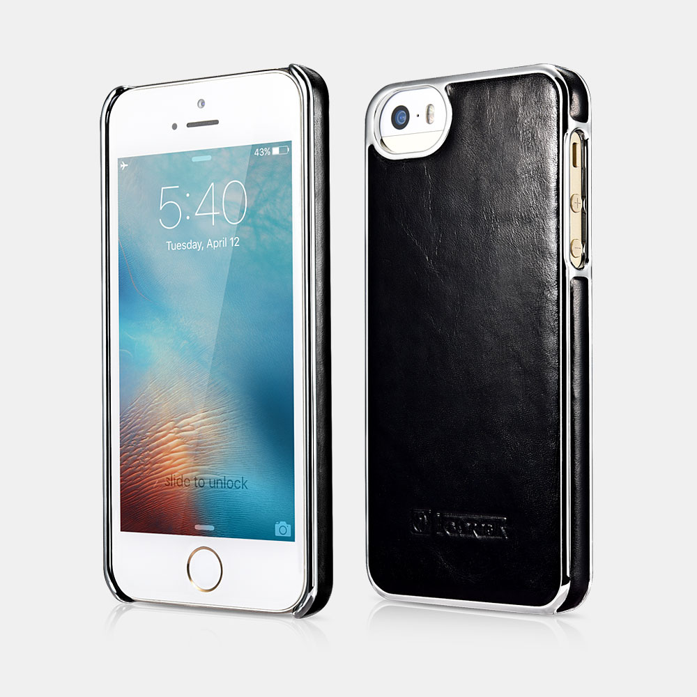 Electroplating Back iPhone 5/5S/SE Leather Cover