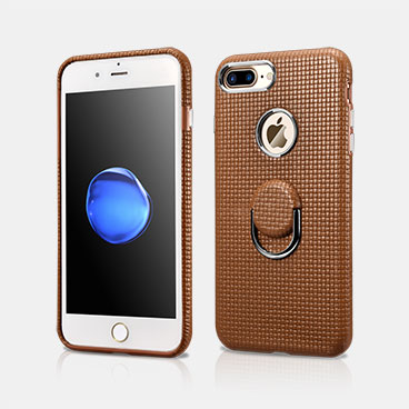 Finger Ring Stand Woven Pattern iPhone 7 Plus Leather Case