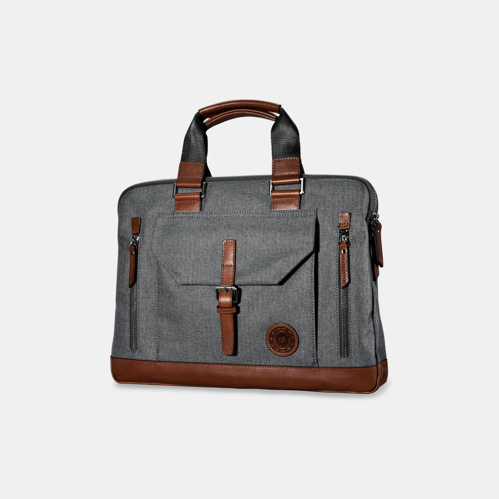 Classic Top Fabric and Genuine Leather Business Handbag Briefcase Shoulder Messenger Satchel Bag