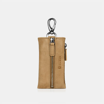 Vegetable Tanned Leather Car Key Holder Zipper Bag