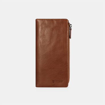 Vegetable Tanned Leather Organizer Card Case Zipper Long Bifold Wallet