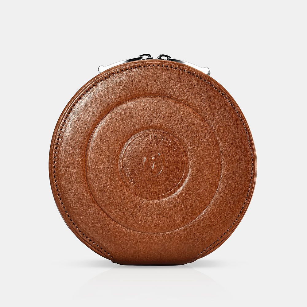 Real leather Portable Round CD Storage Bag