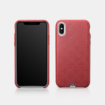 iPhone X Real Leather Check Pattern Luxury Back Cover Series