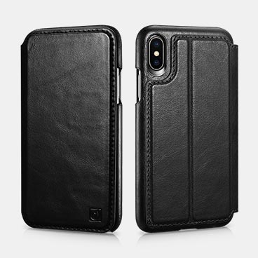 iPhone X/XS Distinguished  Series Real Leather Detachable 2 in 1 Wallet Folio Case with  Magnetic Closure