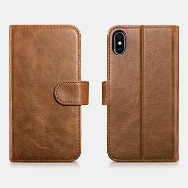 iPhone X/XS Detachable Genuine leather Wallet Case