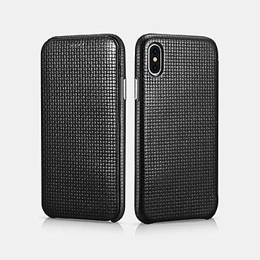 iPhone X/XS Woven Pattern Series Curved Edge Real Leather Folio Case
