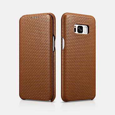 Woven Pattern Real Leather Folio SAMSUNG Galaxy S8 Case