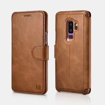 Samsung S9 plus Distinguished Series Real Leather Detachable 2 in 1 Wallet Folio Case with Magnetic closure
