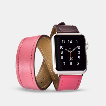 40mm/38mm Wholesale Apple Watch Band Supplier Hermes Cow Leather Double Tour
