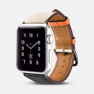 44mm/42mm Custom Apple Watch Straps Hermes Cow Leather Single Tour
