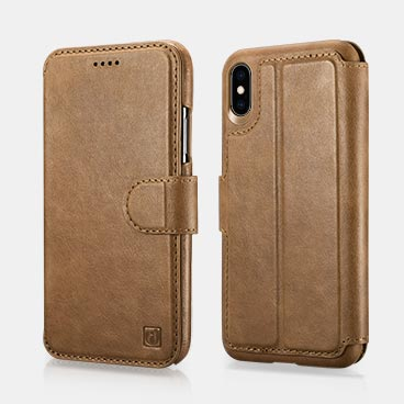 iPhone XS Max Genuine Leather Detachable 2 in 1 Mobile Phone Wallet Folio Case