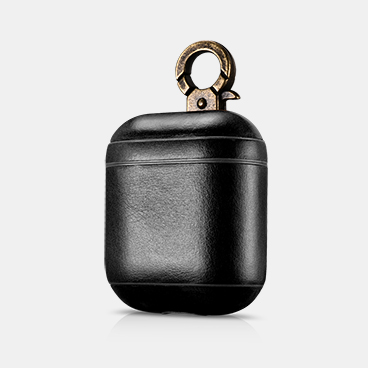 Factory Wholesale Custom Genuine Leather AirPods Protective Case With Metal Hook