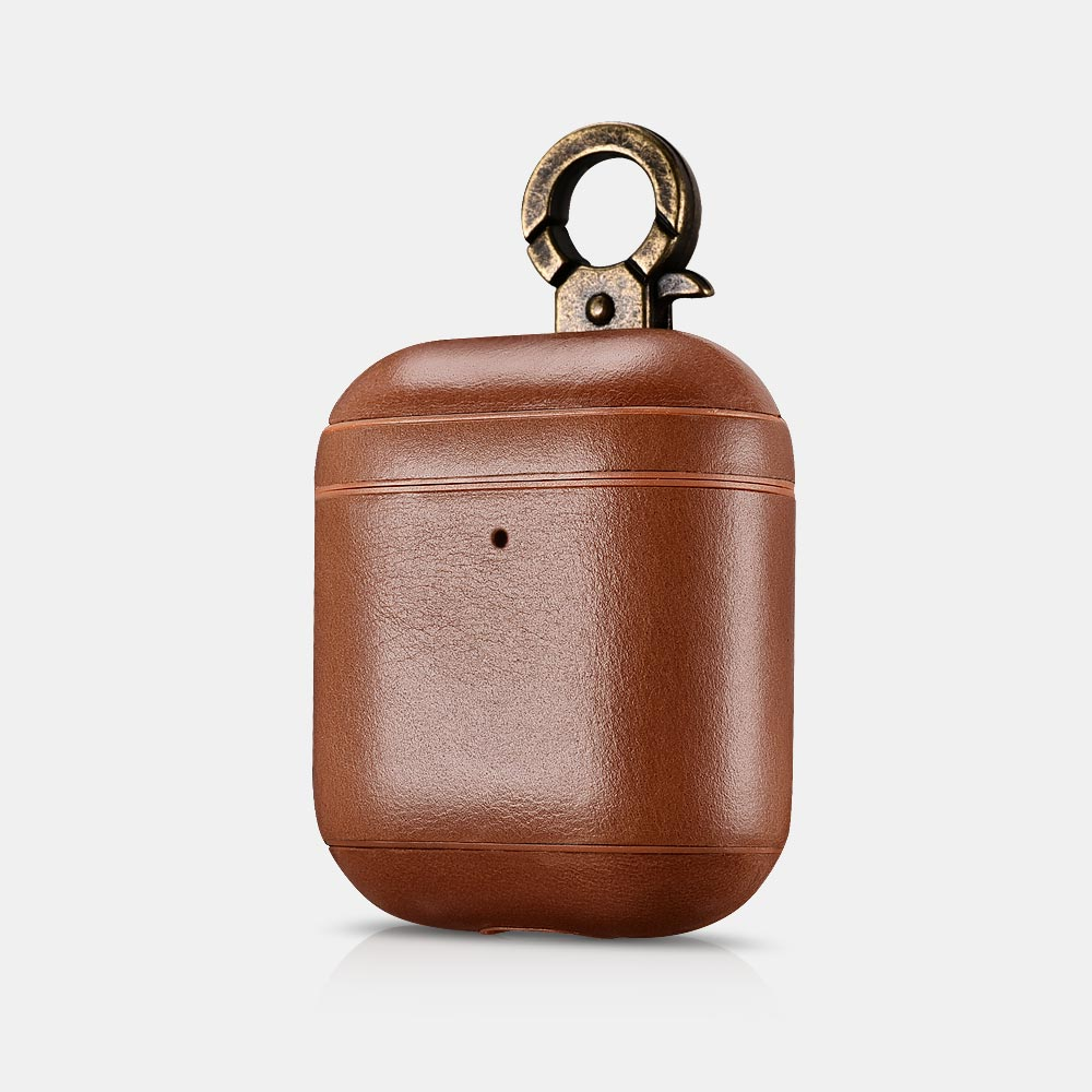 Vintage Series Real Leather Airpods Case With The Metal Hook with LED Indicator Hole