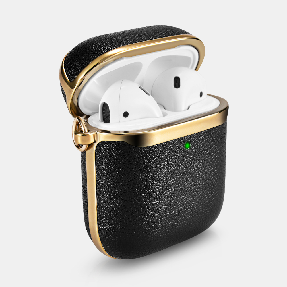 Airpods Gold Electroplating TPU+PU Leather Protective Case(With Silver Carabiner)